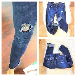 Upcycled Distressed Patched Sugar Skulls Jeans